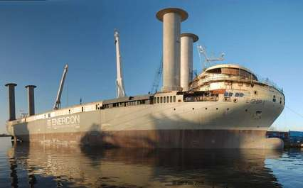 State Of The Art Cargo Ship To Dock With Haul Of Wind Turbines